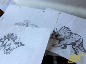 dessin dinosaures